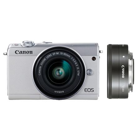 EOS M100 白色套机 EF-M 15-45mm f3.5-6.3 IS STM+EF-M 22mm f/2 STM 银色