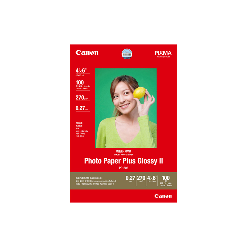 高级光面照片纸PP-208 4×6英寸 (100张/包)