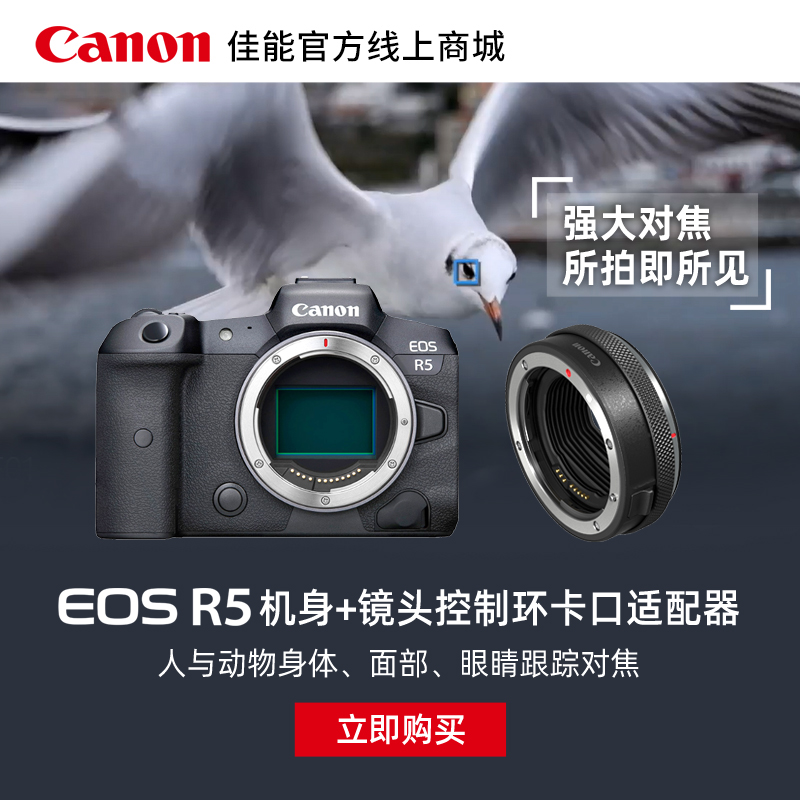 EOS R5 机身 + 镜头控制环卡口适配器EF-EOS R